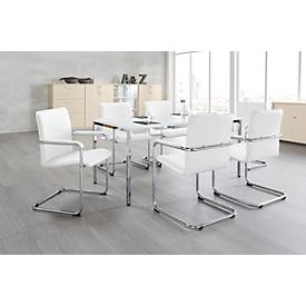 Set van 6 stoelen RUMBA, kunstleder wit + 1 tafel 1600 x 800 mm, wit