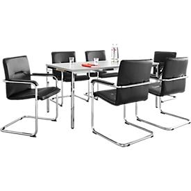 Set van 6 stoelen RUMBA, kunstleder zwart + 1 tafel 1600 x 800 mm, zwart
