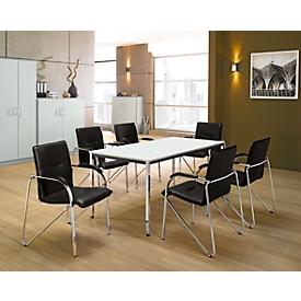 Set van 6 stoelen SAMBA, zwart kunstleder + 1 tafel 1600 x 800 mm, lichtgrijs