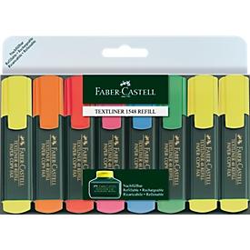 Set van 8 markeerstiften van FABER-CASTELL, 3x geel, 1x oranje, rood, roze, blauw, groen