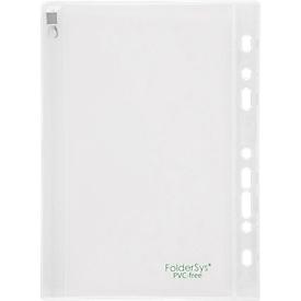 Sichthülle FolderSys, Gleitverschuss, Abheftrand mit EURO-Lochung, PVC-frei, EVA-Folie transparent, A5, 10 Stück