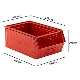 Sichtlagerkasten mit Tragestab LF 14/7-2, Stahl, L 515 x B 322 x H 200 mm, 26 l, rot