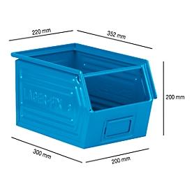Sichtlagerkasten mit Tragestab SSI Schäfer LF 14/7-3, Stahl, L 352 x B 220 x H 200 mm, 11,5 l, blau