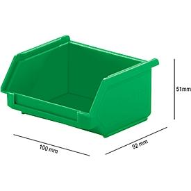 Sichtlagerkasten SSI Schäfer LF 110, Polypropylen, L 92 x B 100 x H 51 mm, 0,26 l, grün