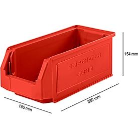 Sichtlagerkasten SSI Schäfer LF 421, Polypropylen, L 380 x B 185 x H 154 mm, 7,8 l, rot