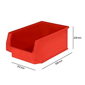 Sichtlagerkasten SSI Schäfer LF 532, Polypropylen, L 500 x B 312 x H 200 mm, 23,5 l, rot