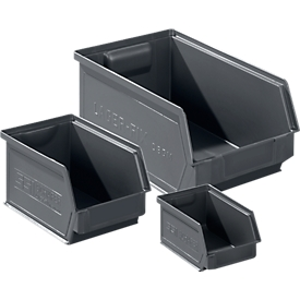 Sichtlagerkasten SSI Schäfer Serie LF, recycelter Kunststoff, 3 Größen, 0,9 - 7,5 l, eisengrau, 64 Stück