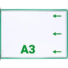 Sichttafel Tarifold DIN A3 quer, 10 St., alle Trägersysteme, Metalldrehzapfen, grün