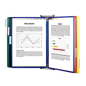 Sichttafelsystem Tarifold, A3, Stahlblech, lichtgrau, inkl. 10 Drehzapfentafeln, farbig sortiert