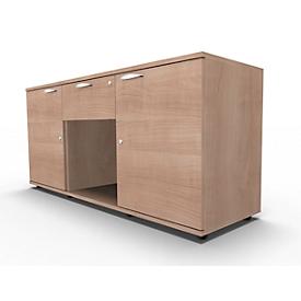 Sideboard, 2 Türen + Schub, abschließbar, Spanplatte, B 1500 x T 420 x H 663 mm, Kirsche-Romana