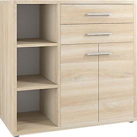 Sideboard-Kombination Player, 3 Regalfächer, 2 Schubladen, 2 Türen, Eiche
