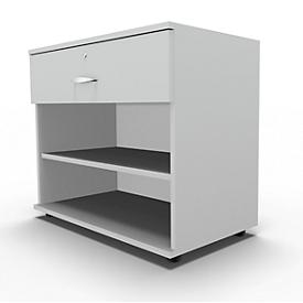 Sideboard, mit Schublade, abschließbar, Spanplatte, B 800 x T 420 x H 663 mm, lichtgrau