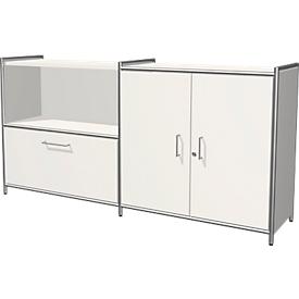 Sideboard Toledo, afsluitbaar, schuiflade + open vak, 2 ordnerhoogten, vleugeldeuren, B 1580 x D 380 mm, wit