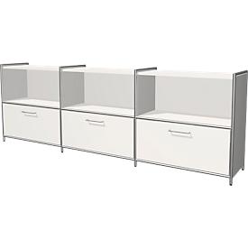 Sideboard Toledo, met zicht-achterwand, 3 schuifladen, 3 vakken, 2 ordnerhoogten, B 2360 x D 380 mm, wit