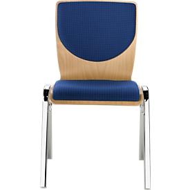 Silla apilable 7450, asiento moldeado, apoyo lumbar, respaldo acolchado, sin reposabrazos, tapizado Point/Trevira CS, azul