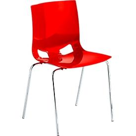 Silla bistro FONDO, silla de plástico de 4 patas, armazón cromado, apilable hasta 6 sillas, rojo