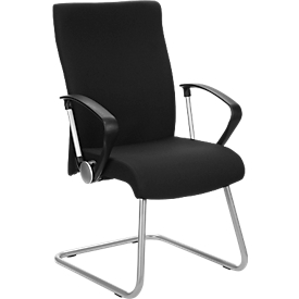 Silla cantilever Neo, aluminio plateado/negro/negro