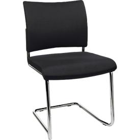 Silla cantilever SEAT POINT, acolchado, sin reposabrazos, apilable, juego de 2, negro