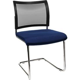 Silla cantilever SEAT POINT, malla, sin reposabrazos, apilable, juego de 2, azul
