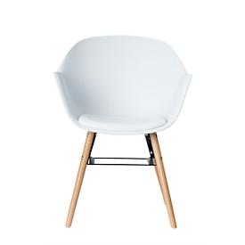 Silla con carcasa, plástico, con patas de madera, cojín de asiento, resistente a los desinfectantes, blanco, juego de 2