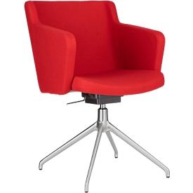Silla de conferencia Sitness 1.0, asiento tridimensional, ajustable en altura, giratorio, rojo