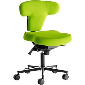 Silla de oficina Ergo+, mecanismo asíncrono, asiento contorneado, respaldo en forma de T, verde/aluminio plata