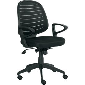 Silla de oficina PABLO, mecanismo de balanceo automático, con reposabrazos y respaldo con revestimiento de malla, asiento tapizado de confort