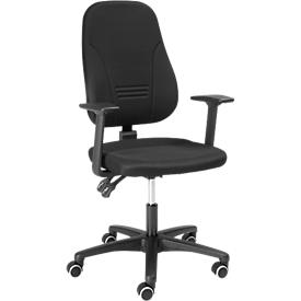 Silla de oficina Prosedia YOUNICO PLUS 3, con reposabrazos, contacto permanente, asiento contorneado, respaldo 3D, negro/negro