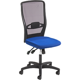 Silla de oficina Prosedia YOUNICO PLUS 8 Diseño, mecanismo sincronizado, sin reposabrazos, soporte lumbar, negro/azul