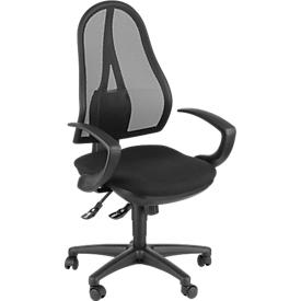 Silla de oficina Topstar OPEN POINT SY, mecanismo sincronizado, sin reposabrazos, asiento ergonómico, negro