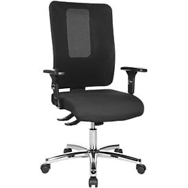 Silla de oficina Topstar OPEN X, mecanismo sincronizado, sin reposabrazos, respaldo de malla, asiento contorneado con rodillera, altura del asiento ajustable,