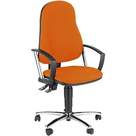 Silla de oficina Topstar POINT 60, mecanismo permanente, con reposabrazos, soporte lumbar, asiento contorneado, naranja