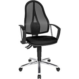 Silla de oficina Topstar Point Net, contacto permanente, con reposabrazos, respaldo de malla ajustable, negro