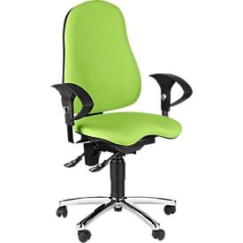 Silla de oficina Topstar SENSUM, contacto permanente, con reposabrazos, soporte lumbar, asiento ortopédico 3D, amarillo verde