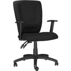 Silla giratoria CARLOS, contacto permanente, con reposabrazos y apoyo lumbar, asiento grande, negro