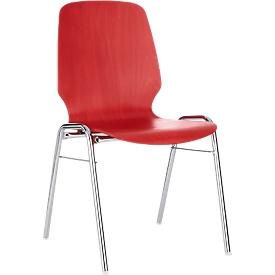 Silla moldeada 710, asiento moldeado redondeado, rojo