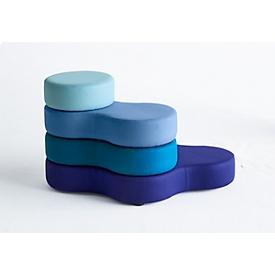 Sistema de asientos TAPA Round II, tejido, modular, con mecanismo de giro, An 1090 x Al 620mm, azul/azul