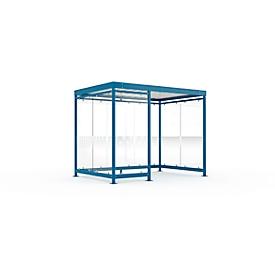 Sistema de cubierta para exteriores WSM Köln K3 c/b, ancho 3180 x fondo 2165 x alto 2510 mm, kit de montaje, azul genciana RAL 5010
