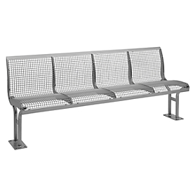 Sitzbank Essen, mit Rückenlehne, 4 Sitzplätze, mit Flansch, pulverbeschichtet, graualuminium