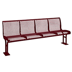 Sitzbank Essen, Rückenlehne, 4 Sitzplätze, zum Einbetonieren, pulverbeschichtet, weinrot