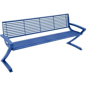 Sitzbank Zürich, 4 Sitzplätze, Stahl, 4 Plätze, in RAL Farben pulverbeschichtet, violettblau