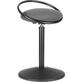 Sitzhocker ROVO SOLO mit Ring, 3D-Gestrick, schwarz/grau