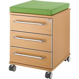 Sitzkissen für Rollcontainer Moxxo IQ 333, B 450 x T 400 x H 4 mm, Stoff grün + Schwerlastrollen, bis 100 kg, feststellbar