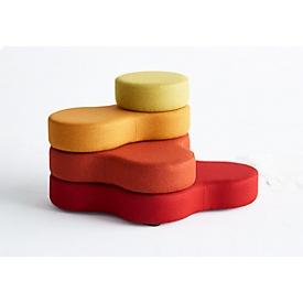 Sitzsystem TAPA Round I, Stoff, modular, mit Drehmechanismus, B 800 x H 620 mm, rot/gelb