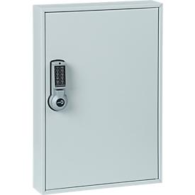 Sleutelkast ELO, met 30 haken, met beveiligde haken, elektrisch slot incl. 9 V blokbatterij, lichtgrijs RAL 7035