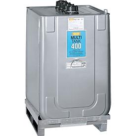 Smeermiddelentank Multi-Tank, voor verse & gebruikte olie, incl. gegalvaniseerde opvangbak, HDPE, 400 l inhoud
