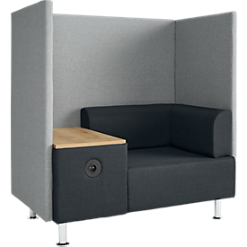 Soft Seating System BE SOFT, 1 zitting, met tafel, w. akoestisch paneel, incl. stekkersysteem, zwart-grijs