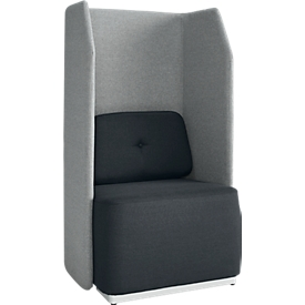 Soft-Seating-System BE SOFT, Sillón, sin mesa, con panel insonrizante, negro/gris