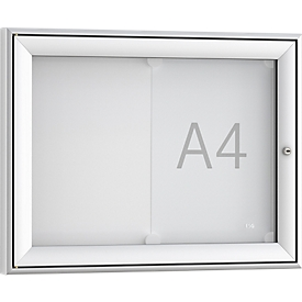 Softline informatiebord WSM FSK 2, ESG glas, voor 2x A4 mededelingen, horizontaal