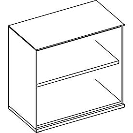 SOLUS boekenkast, 2 OH, 1 legbord, B 800 x D 420 x H 760 mm, ahorn brazilië